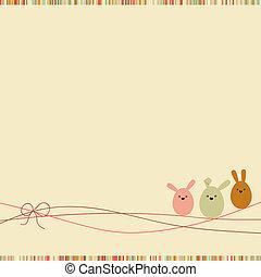 húsvét, kártya, noha, másol, space., eps, 8