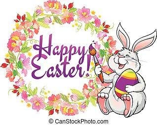 húsvét, köszönés kártya, nyuszi
