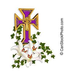 húsvét, kereszt, és, liliomok
