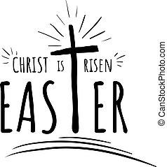 húsvét, kereszt, emelkedett, szöveg, felirat, krisztus