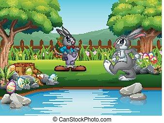 húsvét, liget, játék, üregi nyúl, karikatúra