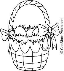 húsvét, színezés, oldal, kosár