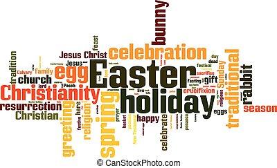 húsvét, szó, felhő