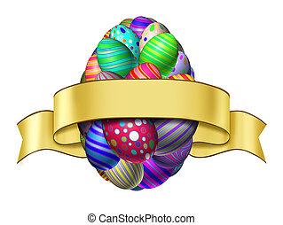 húsvét, szalag, címke