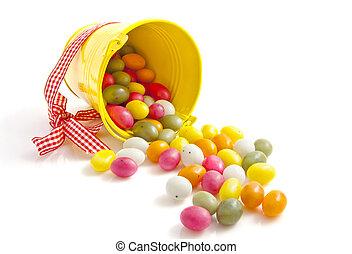 húsvét, vödör, cukorka