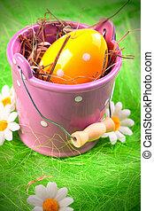 húsvét, vödör, tojás