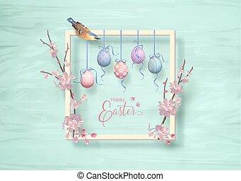 húsvét, vektor, keret