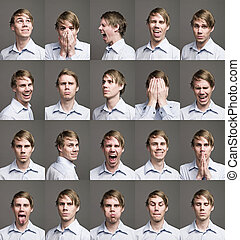 húsz, különböző, ember, kifejezések, arcképek