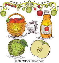 húzott, állhatatos, alma, kéz
