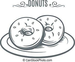 húzott, donuts., kéz