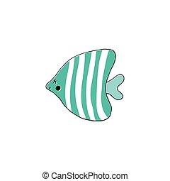 húzott, fish, vektor, kéz