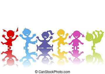 húzott, kéz, gyerekek, színezett