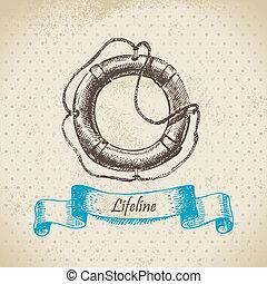 húzott, lifeline., ábra, kéz
