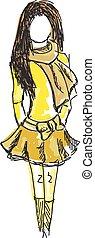 húzott, színezett, fiatal lány, alatt, sárga, öltözék