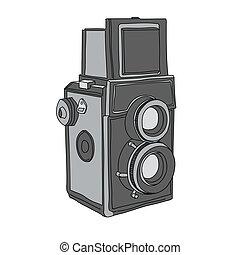 húzott, vektor, fényképezőgép, kéz