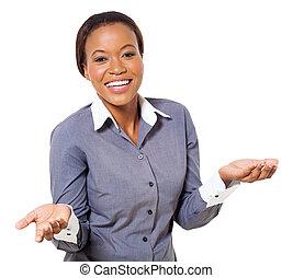 hübsch, afrikanisch, geschäftsfrau