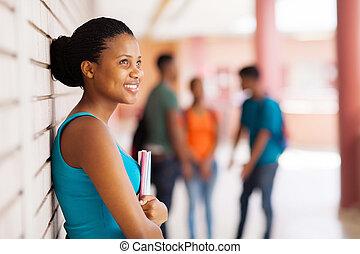 hübsch, afrikanisch, student, weg schauen