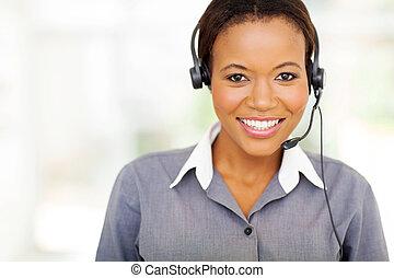 hübsch, afrikanischer amerikaner, anruf- mitte, bediener