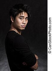 hübsch, asiatischer amerikaner, modisch, mann, in, schwarz