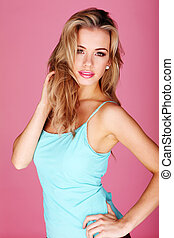 hübsch, blond, in, blaues, sommer, oberseite