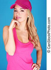 hübsch, blond, schick, in, rosa kleid, und, hut