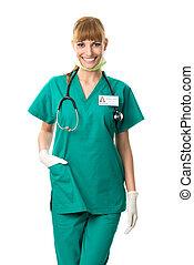 hübsch, chirurg, in, grünes kleid
