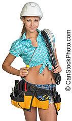 elektriker h bsch kabel kurze hosen m nnerhemd schraubenzieher besitz g rtel werkzeuge. Black Bedroom Furniture Sets. Home Design Ideas