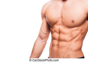 hübsch, erwachsener, mann, mit, gesunde, athletische,...