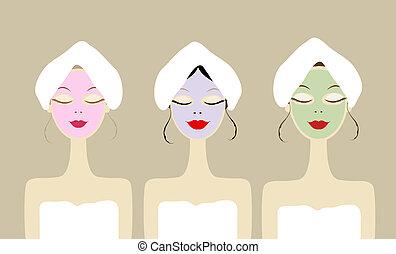 hübsch, frauen, mit, kosmetisch, maske, auf, gesichter