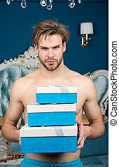 hübsch, geburtstag- geschenke, liebhaber, celebration., schalfzimmer, darling., surprise., gift., sweetheart., tag, romantische , morning., sexy, geschenk, luxus, mann, valentines, überraschung, box., weibliche