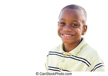 hübsch, junger, afrikanischer amerikanischer junge, freigestellt, weiß
