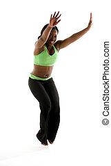 hübsch, junger, latein, weiblicher schwarzer, trainieren, ballett, tanz