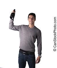 hübsch, junger mann, halten flasche, von, champagner