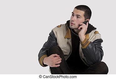 hübsch, junger mann, reden mobiltelefon