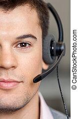hübsch, kundendienstvertreter, tragender kopfhörer