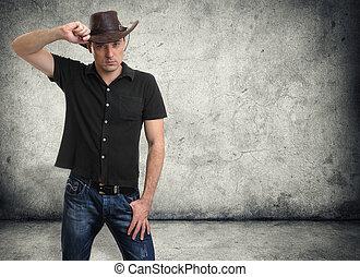 hübsch, mann, in, a, cowboyhut