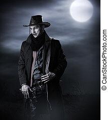 hübsch, mann, in, cowboy, kostüm