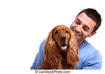 hübsch, mann, mit, hund