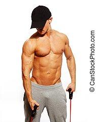hübsch, mann, mit, muskulös, koerper, machen, eignung- übung