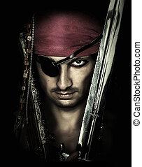hübsch, mann, pirat, schwert, besitz