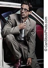 hübsch, mann sitzen, auto