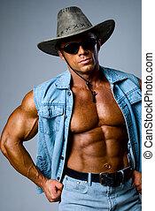 hübsch, muskulös, mann, in, a, cowboyhut