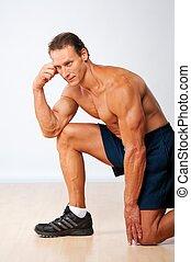 hübsch, muskulös, mann, machen, fitness, exercise.