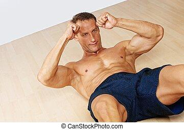 hübsch, muskulös, mann, machen, fitness, exerice.