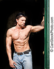 hübsch, muskulös, mann, shirtless, tragen, jeans