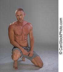 hübsch, muskulös, mann, shirtless, tragen