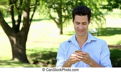hübsch, park, schicken, text, mann