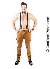 hübsch, shirtless, kerl