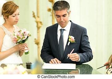Unterzeichnung Junger Vertrag Brautigam Wedding Hubsch