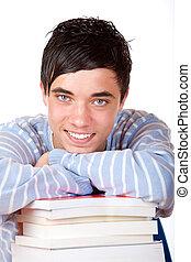 hübsch, studieren, junger, buecher, schueler, lehnender mann, glücklich